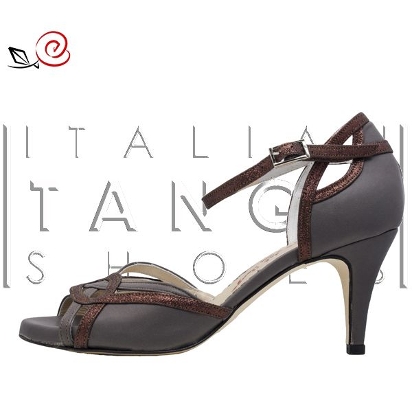 "A new ""Evelin"" variation designed by an our special customer! :-) in brown leather and bronze glitter fabric http://www.italiantangoshoes.com/shop/en/women/321-evelin.html"