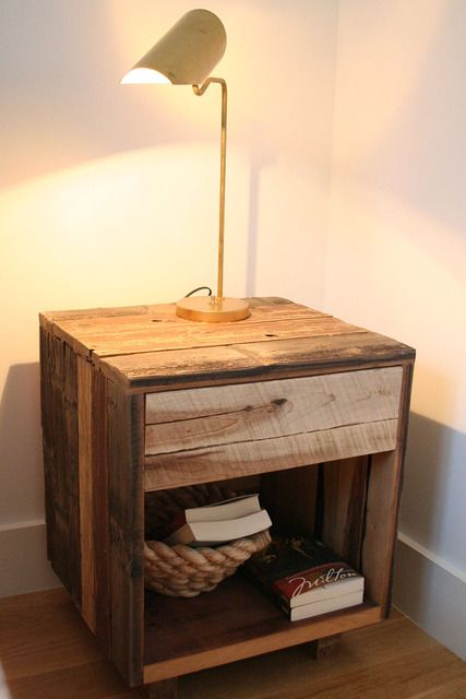 pallet bedside table - I wonder if we could do this with a converted apple crate…