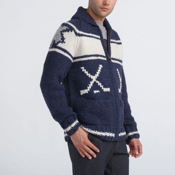 Unisex Mary Maxim Rink Sweater | Roots - Holiday 2015, style 01050334, Blue Iris