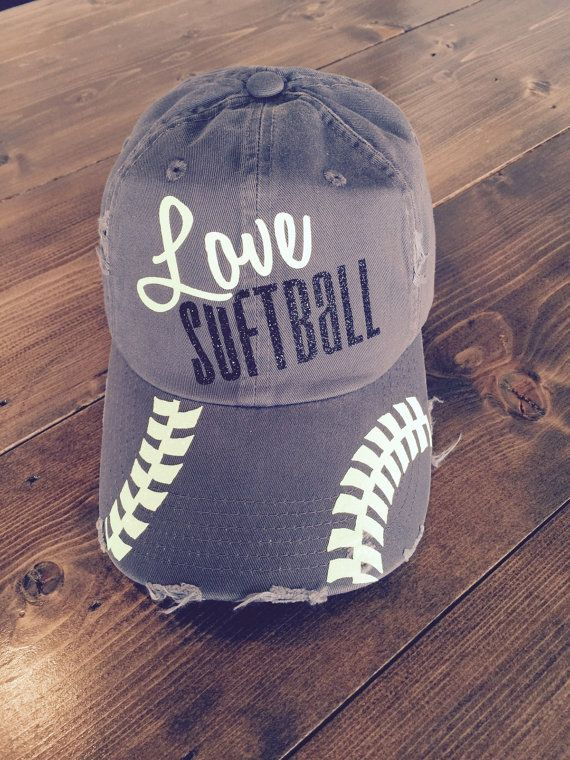 Love Softball - Glitter Baseball Cap One Size - Hideaway Strap with Metal D-Ring Slider *Printed on a Distressed Cap* Neon Yellow and Black