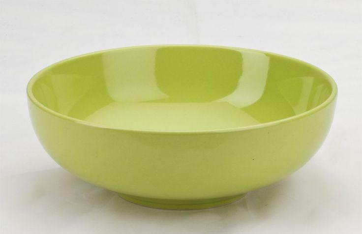 "Stoneware Round Pasta Bowls set of 4 by Omni Houseware 7.75"" Citron Green #OmniHouseware"