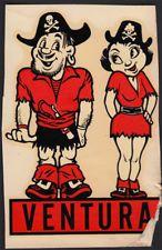 Ventura Junior College ORIGINAL 40's Decal VTG VJC Pirates California Comic Gem