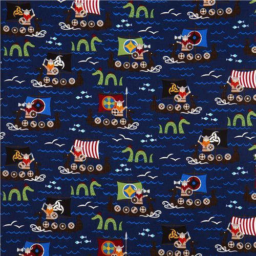 navy blue viking organic fabric with boat sea monster USA 2