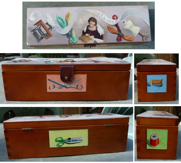 Decorated sewing box