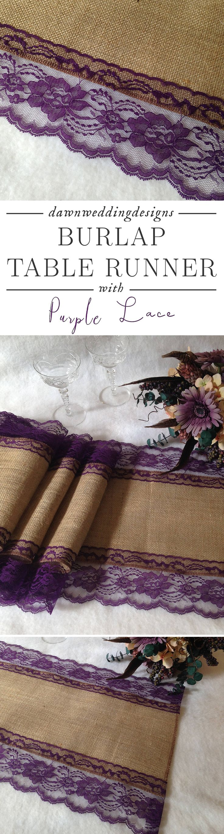 Burlap Table Runner with Dark Purple Lace