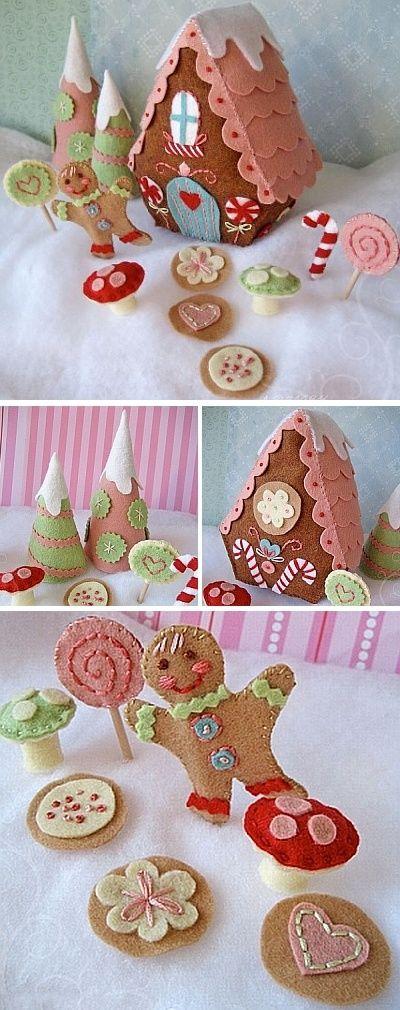 felt christmas gingerbread village: