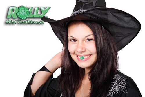 Get the witch's brew out of your teeth with the Rolly Brush. It's 80% as effective as the standard toothbrush and toothpaste and all you do is chew on it!