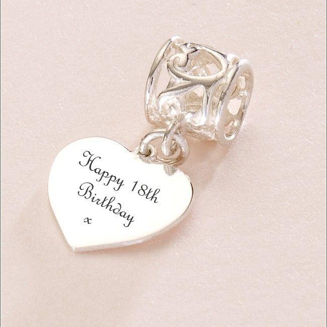 Pandora Birthday Charms | Happy 18th Birthday charm Sterling Silver fits Pandora (hrthrt-18th)