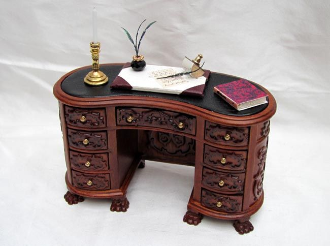 Kidney Shaped Ornate Writing Desk Hand Made From Wood The Has Carved Detailing All