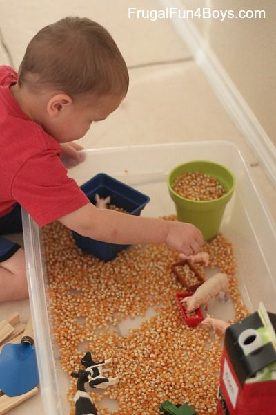 Fall (and spring) are such fun times to learn about farms! We have had fun this week doing a simple farm unit with Jonathan (2.5) and Owen (5). This plastic tub has been recycled into all sorts of play scenes. For our farm, we put in toy cows, pigs, and horses, a toy tractor, and …