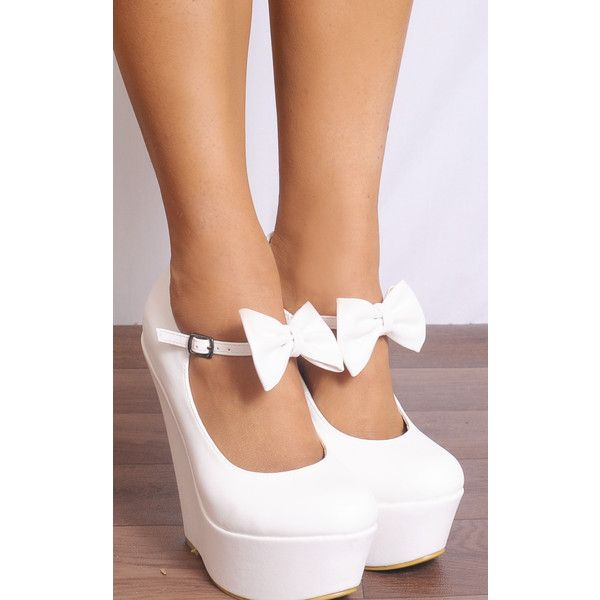 Shoe Closet White Bows Wedged Platforms Wedges Court Shoes ($44) ❤ liked on Polyvore featuring shoes, white, white wedge shoes, platform wedge shoes, vegan footwear, bow wedges shoes and bow shoes