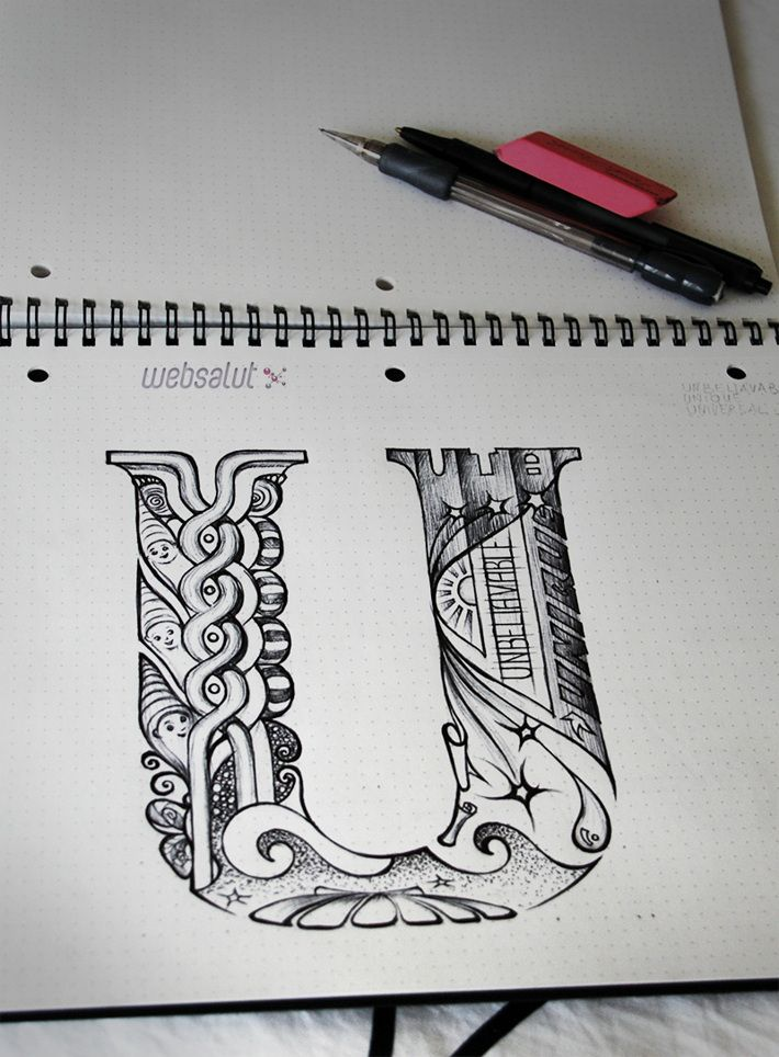 Illustrated letter U for Uta by Nora Manapova, via Behance