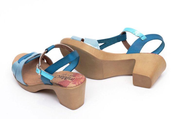 miMaO Eivissa S Azul –– Sandalias mujer tacón plataforma cómodo piel azul- Comfort women's sandals heel platform baby blue glitter leather