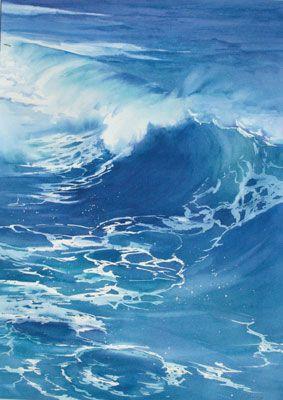 """Catherine Hearding WATERCOLOR  """"Vois-tu comme le flot paisible Sur le rivage vient mourir ! Vois-tu le volage zéphyr Rider, d'une haleine insensible, L'onde qu'il aime à parcourir ! . . ."""" Alphonse Lamartine, méditations poétiques"""