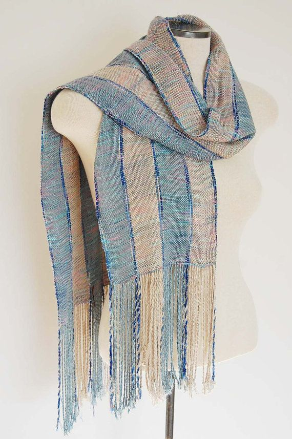 Bamboo and Silk Handwoven Scarf Blue Stripe by LocallySewnTextiles