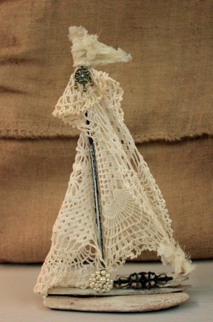 Lace Driftwood Sailboat. $26.00, via Etsy.