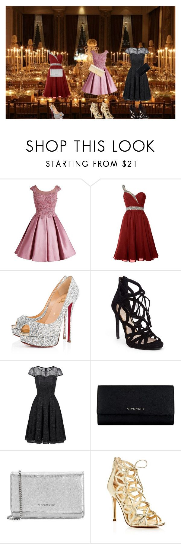 """""""3 Girls and a Cocktail Party"""" by christianeberha ❤ liked on Polyvore featuring Christian Louboutin, Jessica Simpson, Givenchy, Ivanka Trump and Prada"""