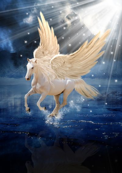 The Pegasus was the mount of the hero Bellephron. Together they destroyed the Chimera. This flying horse gave him great agility to dodge the many blows from the Chimera. Later Bellephron thought that he was as great as the gods and rode to heaven on the back of Pegasus. The gods sent a gadfly to sting the tail of Pegasus. This caused the beast to jerk upwards and Bellephron fell to the Earth.He landed on a thorn bush which left him blind and disabled for the rest of his life.