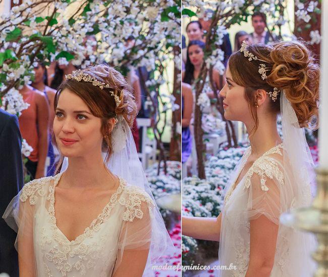Vestido de noiva da Laura novela ALTO ASTRAL | Penteados para usar com véu http://modaefeminices.com.br/2014/11/25/vestido-de-noiva-da-laura-novela-alto-astral/