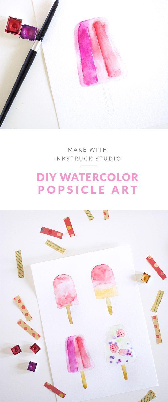 DIY watercolor popsicle art