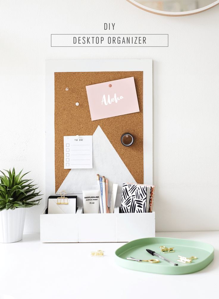 DIY Desk Organizer - made with wood boxes and cork board - easy and so cute!