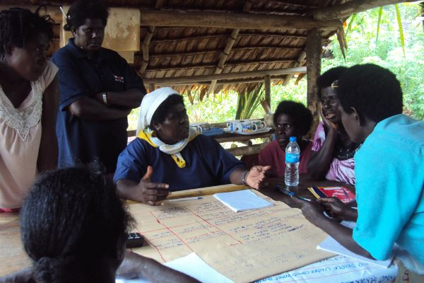Sister Lorraine with Women's Federation members in Buin District. #MDG5