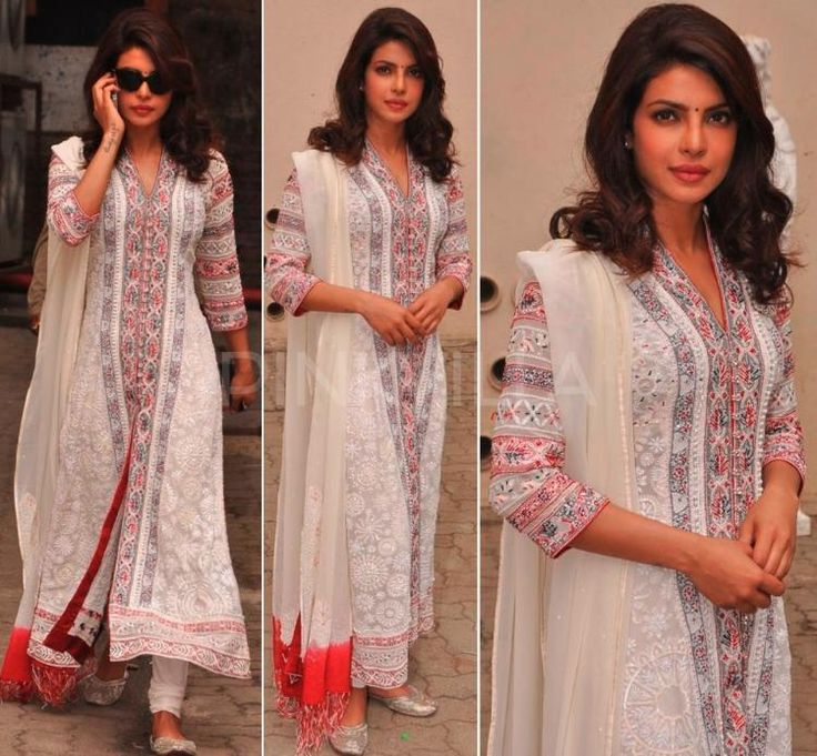 It was a 'desi' day for Priyanka Chopra today.  After sporting a stunning Sabyasachi saree for an autobiography launch, Priyanka wore yet another Indian wear for a UNICEF event.  A white Payal Jain suit was her outfit of choice for the do. The suit with glass beadwork made for a elegant look and an apt choice for the social cause. Peecee completed the look with silver jhootis and a simple black bindi.