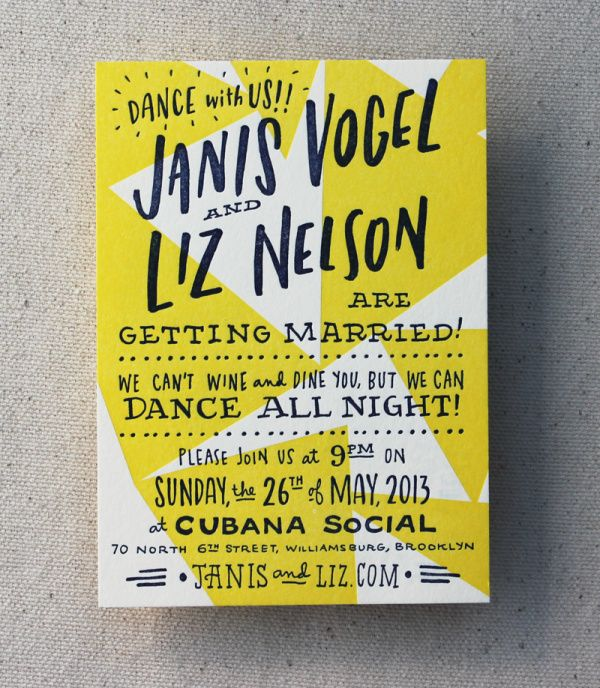 Happy and Gay Letterpress Wedding Invitations in Typography