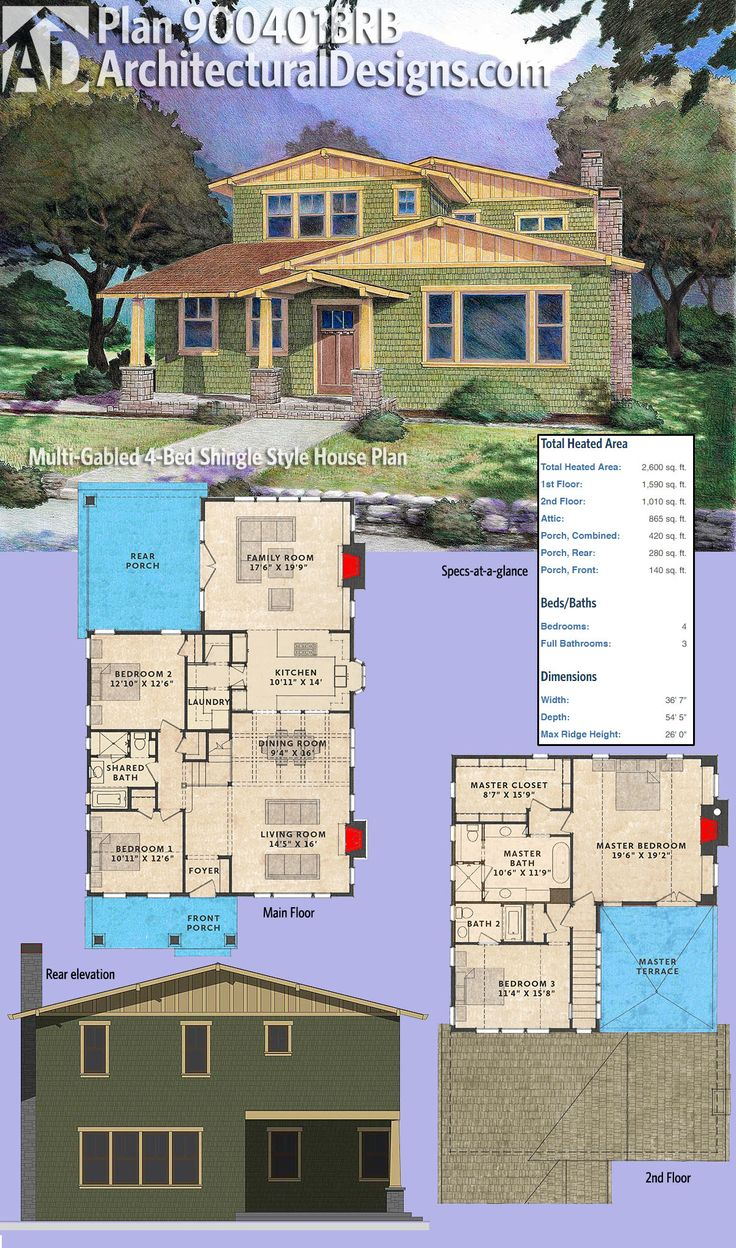 Architectural Designs Multi Gabled Shingle Style House Plan