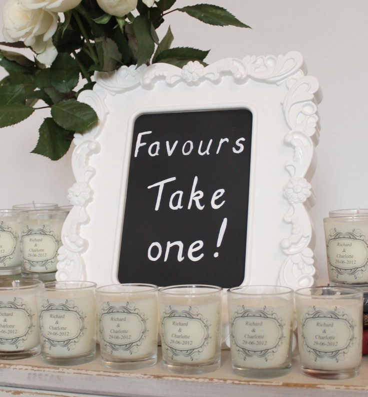 personalised scented votives for wedding favours