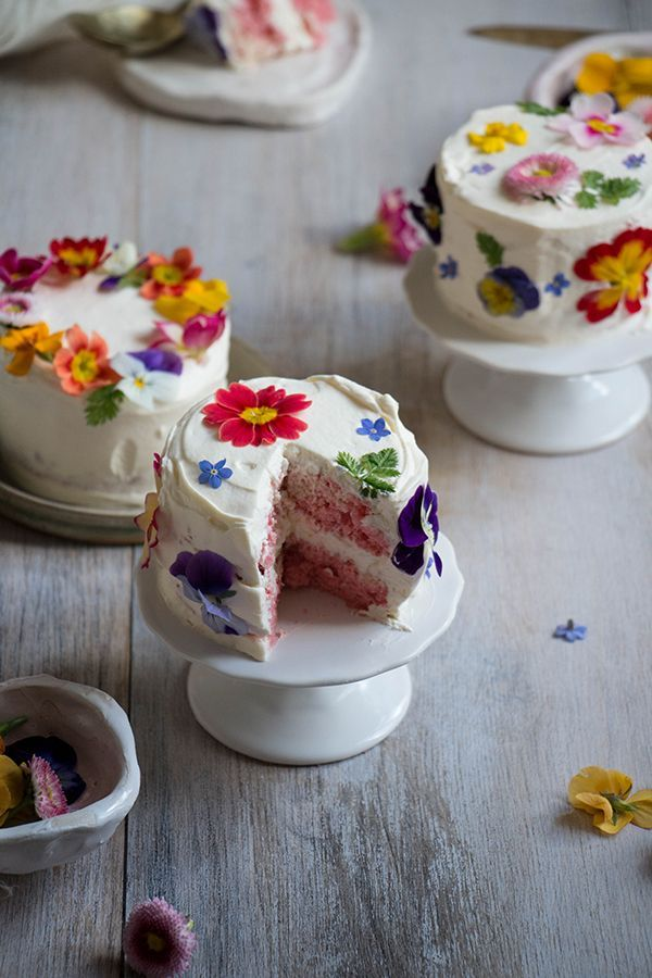 Taste the rainbow! Twigg Studios shares how to make mini ombré layer cakes brightened with edible flowers.