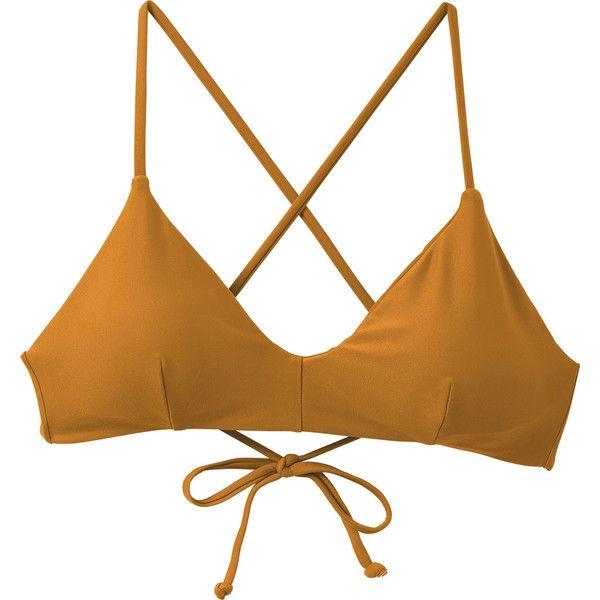 RVCA Women's Solid Cross Back Bikini Top (51 AUD) ❤ liked on Polyvore featuring swimwear, bikinis, bikini tops, pumpkin spice, bralette bikini top, swim suit tops, rvca bikini, swimming bikini and bralette swim top