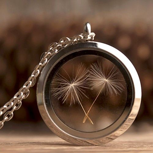 Dandelion seed locket necklace