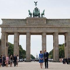 Britain's Prince William and his wife Catherine visit Brandenburg Gate in Berlin