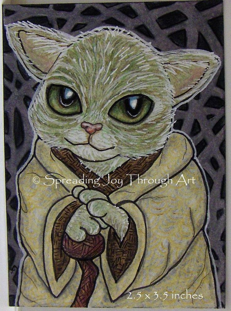 NFAC JAN ACEO Original Joy Yoda Cat Kitty Star Wars Fan Art Jedi Zentangle Force #Miniature by Joy Redington
