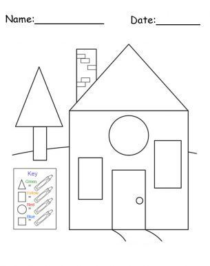 Free Printable House Shapes Worksheet - I would use this at the beginning of 1st grade to assess whether or not students know their shapes.