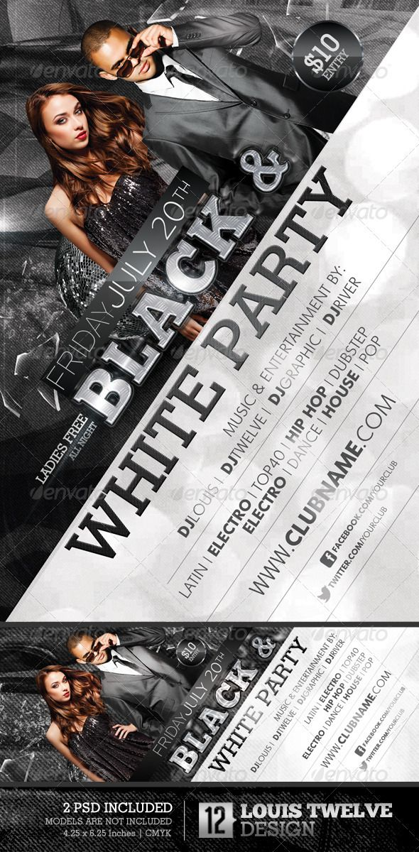 graphicriver black and white party flyer  u0026 facebook