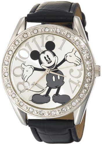 Disney Unisex MK1015 Mickey Mouse Silver Dial Black Crocodile Strap Watch Disney. $16.99. Quality quartz movement with analogue-display. Case diameter: 40 mm. Clear rhinestone bezel. Durable mineral crystal. Silver surnay dial with mickey mouse character
