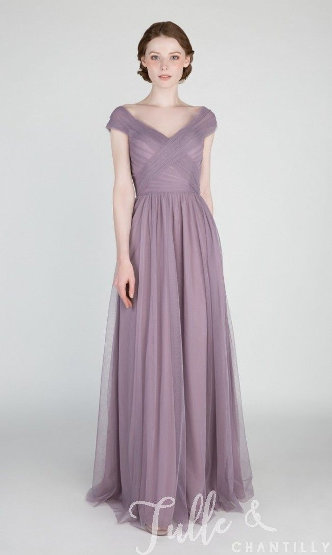 Elegant Long Off Shoulder Tulle Bridesmaid Dress TBQP420 click for 40+ colors