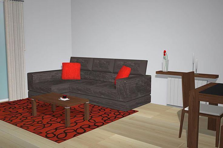 Con esta otra imagen podemos ver otra perspectiva de la mesa de centro junto con el sofá ya que justo al lado del sofá podemos ver que tenemos un radiador con un estante en el cual podemos colocar elementos de decoración encima de él, también podemos parte de la mesa de comedor la cual podremos ver a continuación.