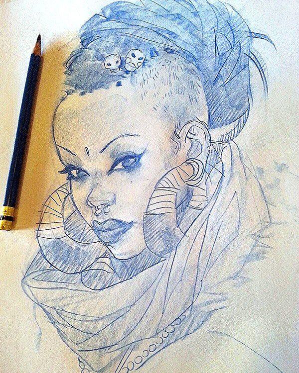 Tribal woman drawing