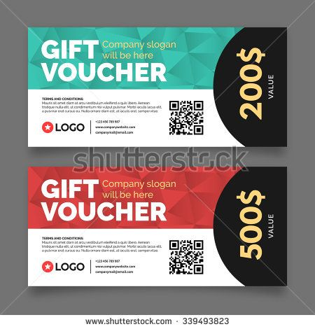 Gift voucher template, premium certificate coupon, vector graphic design, special discount offer, sale present card, business shop voucher, money ticket, financial value tag - stock vector