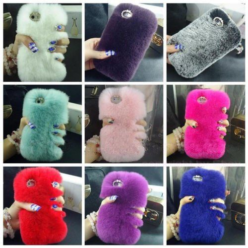 Faux rabbit fur phone case samsung and iphone | my cute case