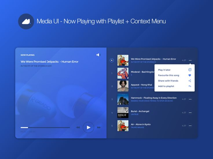 Now Playing With Playlist + Context Menu