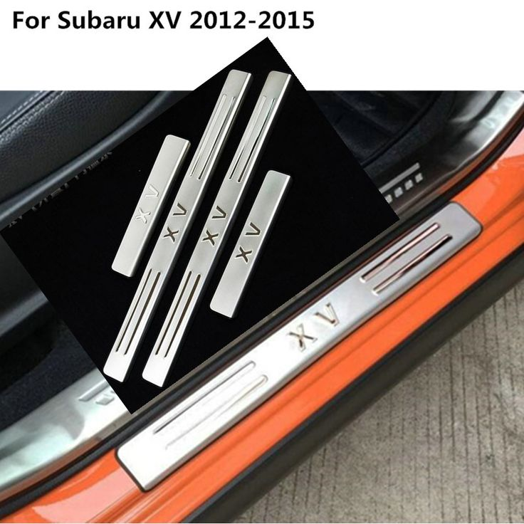 Stainless Steel Pedal Door Sill Strip Scuff Plate Frame External Cover Threshold hoods 4pcs for Subaru XV 2012 2013 2014 2015 #Affiliate