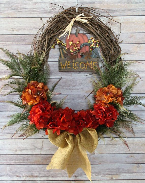 Fall Grapevine Wreath, Welcome Sign for Front Door, Welcome Home Signs, Autumn Fern, Rustic Home Decor, Welcome Sign for Porch
