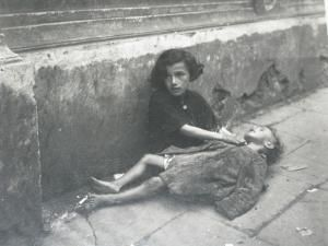 Jewish children on the streets of Poland's Warsaw Ghetto during World War II