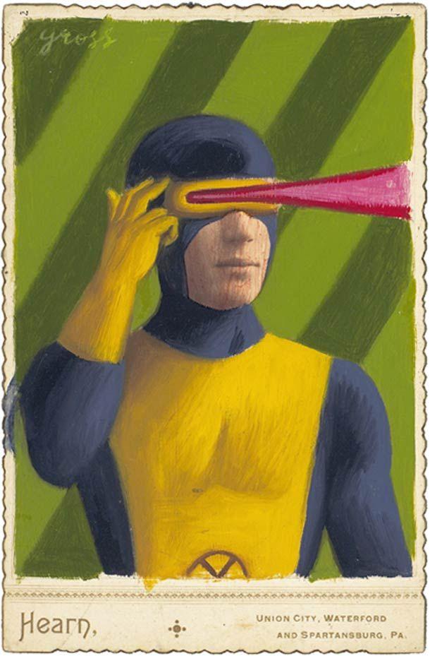 Alex Gross peint des vieux portraits pour transformer les sujets en super-héros.