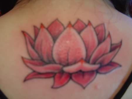 Big Lotus Tattoo On Back