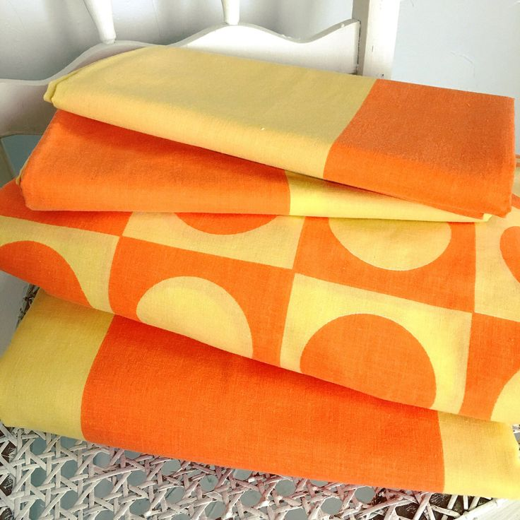 A personal favorite from my Etsy shop https://www.etsy.com/listing/523244567/vintage-twin-orange-and-yellow-sheet-set